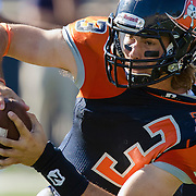 Orange Coast College quarterback Kody Whitaker gets yanked backward during the second half of his teams 35-14 loss to Fullerton College on November 5, 2016.