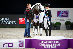 WERTH Isabell (GER), Weihegold OLD, WIEGARD Steffi (Pferdepfleger GER)<br /> Paris - FEI World Cup Finals 2018<br /> FEI World Cup Dressage Freestyle/Kür<br /> www.sportfotos-lafrentz.de/Stefan Lafrentz<br /> 14. April 2018