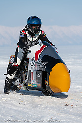 Pilot Sebastien Lorentz of Lucky Cats Garage in Chartres, France on Belgian custom bike builder Brice Hennebert's 2018 Indian Scout Bobber at the Baikal Mile Ice Speed Festival. Maksimiha, Siberia, Russia. Friday, February 28, 2020. Photography ©2020 Michael Lichter.