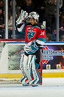 KELOWNA, CANADA - DECEMBER 7:  Roman Basran #30 of the Kelowna Rockets stands in net against the Victoria Royals on December 7, 2018 at Prospera Place in Kelowna, British Columbia, Canada.  (Photo by Marissa Baecker/Shoot the Breeze)