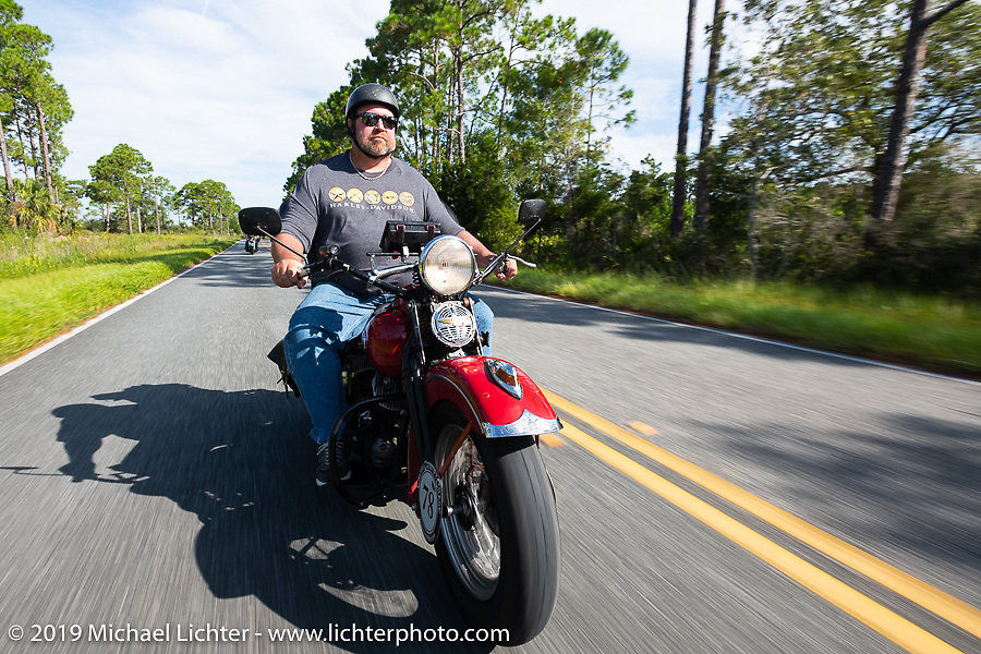 Curtis Venable riding his 1940 Harley-Davidson ULH Flathead in the Cross Country Chase motorcycle endurance run from Sault Sainte Marie, MI to Key West, FL. (for vintage bikes from 1930-1948). 287 mile ride of Stage-8 from Tallahassee to Lakeland, FL USA. Friday, September 13, 2019. Photography ©2019 Michael Lichter.