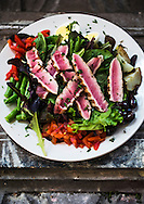 August 25, 2014 - The Nicoise salad at Cafe Keough features seared Ahi tuna, fingerling potatoes, green beans, tomato, olives, roasted peppers, egg, and mixed greens. The French-style cafe and bar is located at 12 S. Main St. (Yalonda M. James/The Commercial Appeal)