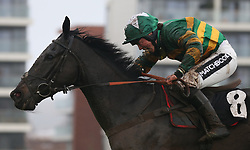 Kapcorse and Bryony Frost win The Sir Peter O' Sullevan Memorial Handicap Steeple Chase Race run during Ladbrokes Trophy Day at Newbury Racecourse.