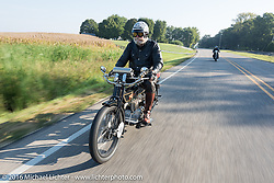 Vern Acres of Ontario, Canada riding his 4-cylinder 1914 Henderson class-2 motorcycle during the Motorcycle Cannonball Race of the Century. Day-4 ride from Bloomington, IN to Cape Girardeau, MO. USA. Wednesday September 14, 2016. Photography ©2016 Michael Lichter.