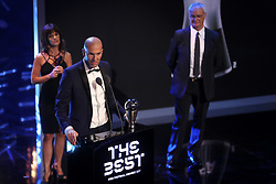 Zinedine Zidane accepts the award for FIFA Mens Coach of the Year during the Best FIFA Football Awards 2017 at the Palladium Theatre, London.
