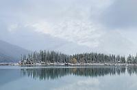 Fresh autumn snowfall at Kananaskis Lake, Kananaskis Country Alberta