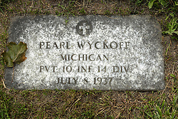 31 August 2017:   Veterans graves in Park Hill Cemetery in eastern McLean County.<br /> <br /> Pearl Wyckoff Michigan Private 10 INF 14 DIV July 8 1937