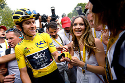 July 29, 2018 - Paris, FRANCE - British Geraint Thomas of Team Sky and his wife celebrate after the last stage of the 105th edition of the Tour de France cycling race, 116km from Houilles to Paris, France, Sunday 29 July 2018. This year's Tour de France takes place from July 7th to July 29th. BELGA PHOTO DAVID STOCKMAN (Credit Image: © David Stockman/Belga via ZUMA Press)
