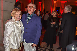 Jasper Conran and his mother Shirley Conran at the Mary Quant VIP Preview at The Victoria & Albert Museum, London, England. 03 April 2019. <br /> <br /> ***For fees please contact us prior to publication***
