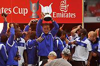 Photo: Tony Oudot/Richard Lane Photography.  Juventus v SV Hamburg. Emirates Cup. 03/08/2008. <br /> Hamburg captain Frank Rost lifts the Emirates Cup