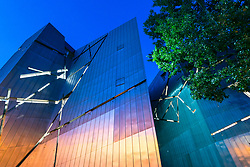 Night View of exterior of Jewish Museum in Berlin , Germany.