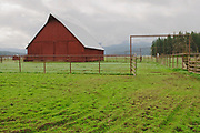 Open Gate and Big Red Hay Barn on Chandler Road Near Quincy, California Mountains, Sierra Nevada Mountains