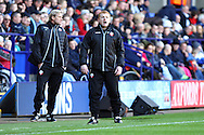 Bolton Wanderers Manager Neil Lennon gives his orders from the touch line. Skybet football league championship match, Bolton Wanderers v Brentford at the Macron stadium in Bolton, Lancs on Saturday 25th October 2014.<br /> pic by Chris Stading, Andrew Orchard sports photography.