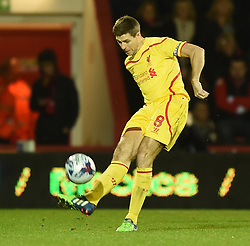 Liverpool's Steven Gerrard in action against AFC Bournemouth - Photo mandatory by-line: Paul Knight/JMP - Mobile: 07966 386802 - 17/12/2014 - SPORT - Football - Bournemouth - Goldsands Stadium - AFC Bournemouth v Liverpool - Capital One Cup