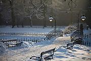 Krakowskie Planty zimą, Polska<br /> Planty in winter, Cracow, Poland
