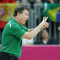 02 August 2012: Brazil head coach Magnano Ruben is seen during 75-74 Team Russia victory over Team Brazil, during the men's basketball preliminary, at the Basketball Arena, in London, Great Britain.