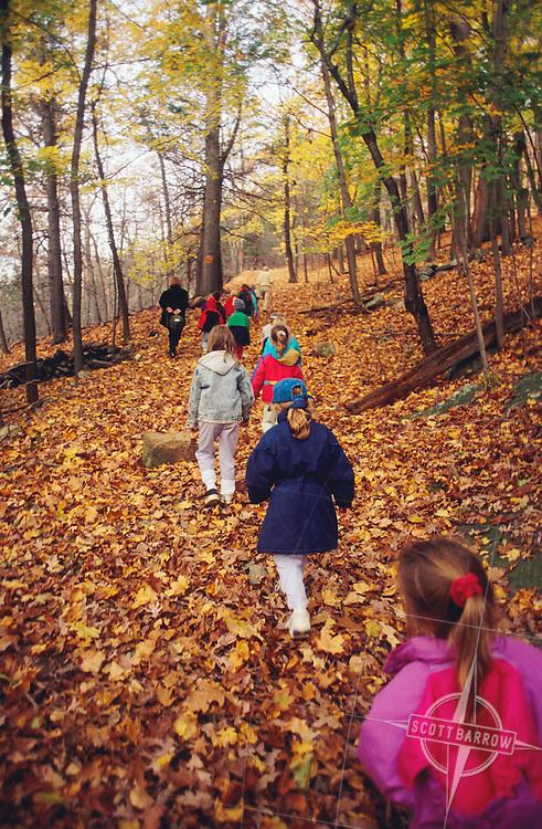 Children Hiking in Woods.