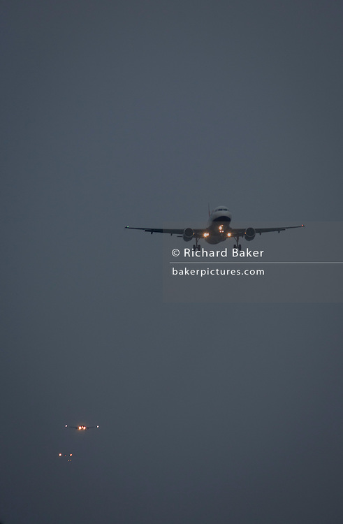 Airliners landing at London Heathrow airport,<br /> <br /> From the chapter entitled 'Up in the Air' and from the book 'Risk Wise: Nine Everyday Adventures' by Polly Morland (Allianz, The School of Life, Profile Books, 2015).