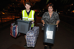 © Licensed to London News Pictures. 07/05/2015<br /> Ballot boxes arriving at Medway Park Centre,Gillingham.<br /> General Election 2015 Count for Medway, Kent at Medway Park Sports Centre,Gillingham.<br />  <br /> (Byline:Grant Falvey/LNP)