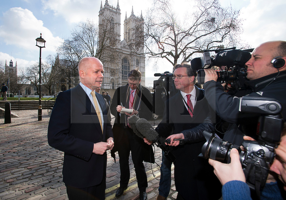 © London News Pictures. 14/03/2013 . London, UK.  British Foreign Minister William Hague talking to media as he arrives to speak at the British Chambers of Commerce annual conference at Central Hall, Westminster, London on  Thursday, March 14, 2013. Photo credit : Ben Cawthra/LNP