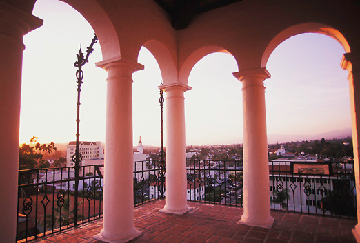 View looking out from Santa Barbara Courthouse to City at Dusk in California.