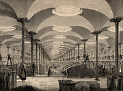The Great Hall of Marshall's Flax Mill, Leeds, Yorkshire, England. The roof is supported on cast iron columns, and glazed skylights give even overhead light.  The machinery is powered, through belt and shafting, by a steam engine. The long fibres of the stem of the Flax plant (Linum) was processed to produce linen.   The workers tending the machines are women who were supervised by a male overseer standing by second pillar on the left. From 'Great Industries of Great Britain' (London, c1880).  Engraving.