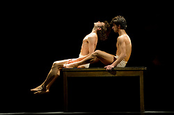 """© Copyright licensed to London News Pictures. 26/10/2010. Pablo Aran Gimeno (as Orest) and Damiano Ottavio Bigi (as Pylades) in """"Iphigenie auf Tauris"""", Tanztheater Wuppertal Pina Bausch, Sadler's Wells. A rare performance of Gluck's masterpiece."""