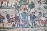 Close up detail picture of the Roman mosaics of the small hunt depicting offerings being made at an altar, room no 24 at the Villa Romana del Casale, first quarter of the 4th century AD. Sicily, Italy. A UNESCO World Heritage Site.<br /> <br /> The Small Hunt room was used as a living room for guests of the Villa Romana del Casale. The Small hunt mosaic design has 4 registers running across the mosaic depicting hunting scenes. In the first register two servants are handling hunting dogs. In the second register figures are depicted burning incense at an altar to Diana, the goddess of hunting, before the hunt starts. The offering is being made by Constantius Clorus , the Caesar of Emperor Maximianus who owned the Villa Romana del Casale. Behind him is his son the future Emperor Constantine. To the right of the altar is a figure holding the reins of a horse dressed in a clavi decorated with ivy leaves indicating that he belongs to the family of Maximianus. .<br /> <br /> If you prefer to buy from our ALAMY PHOTO LIBRARY  Collection visit : https://www.alamy.com/portfolio/paul-williams-funkystock/villaromanadelcasale.html<br /> Visit our ROMAN MOSAICS  PHOTO COLLECTIONS for more photos to buy as buy as wall art prints https://funkystock.photoshelter.com/gallery/Roman-Mosaics-Roman-Mosaic-Pictures-Photos-and-Images-Fotos/G00008dLtP71H_yc/C0000q_tZnliJD08