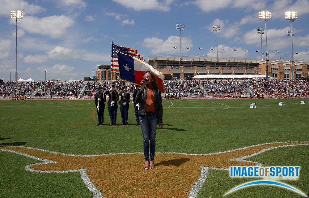 Mar 31, 2018; Austin, TX, USA; Courtney Santana sings the United States national anthem during the 91st Clyde Littlefield Texas Relays at Mike A. Myers Stadium.