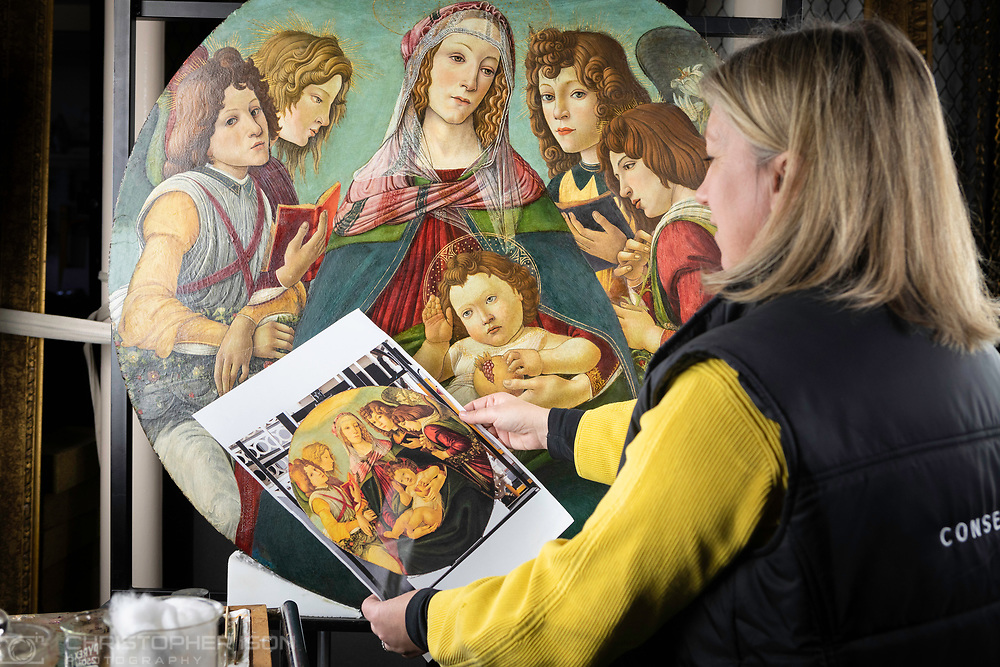 Rachel Turnbull, Senior Collections Conservator (Fine Arts), pictured conserving 'Madonna of the Pomegranate' which has now been identified as being painted at the workshop of Sandro Botticelli sometime after 1487. The painting will hang at Ranger's House, Blackheath, London.<br /> Picture date: Monday March 25, 2019.<br /> Photograph by Christopher Ison for English Heritage ©<br /> 07544044177<br /> chris@christopherison.com<br /> www.christopherison.com
