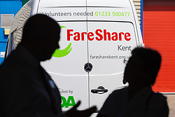 Guests tour the warehouse at the opening of FareShare's relocated warehouse in Ashford, Kent. Ashford, Kent, May 23 2019.