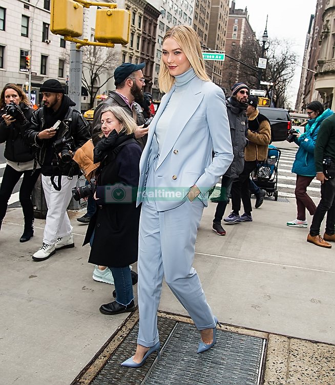 Celebrities are seen outside Ralph Lauren Spring/Summer 2019 fashion show during New York Fashion Week in New York. 07 Feb 2019 Pictured: Karlie Kloss. Photo credit: MEGA TheMegaAgency.com +1 888 505 6342