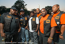 The Banderleros MC at a Club meetup at the American Legion in Catonsville, MD with the Flying Eagles MC (founded 1950). USA. August 16, 2015.  Photography ©2015 Michael Lichter.