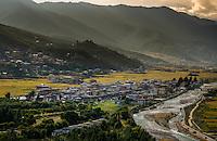 PARO, BHUTAN - CIRCA October 2014: View of Paro and Paro Chu rive in, Bhutan