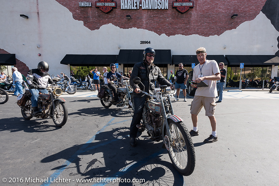 Thomas Trapp, owner of the Harley-Factory Frankfurt dealership in Germany on his 1916 Harley-Davidson as he arrives at the hosted lunch stop at Temecula Harley-Davidson on the last day of the Motorcycle Cannonball Race of the Century. Stage-15 ride from Palm Desert, CA to Carlsbad, CA. USA. Sunday September 25, 2016. Photography ©2016 Michael Lichter.