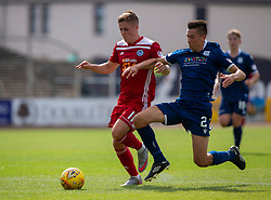 Ayr United's Luke McCowan and Dundee's Cemeron Kerr. Dundee 0 v 0 Ayr United, Scottish Championship game played 10/8/2019.