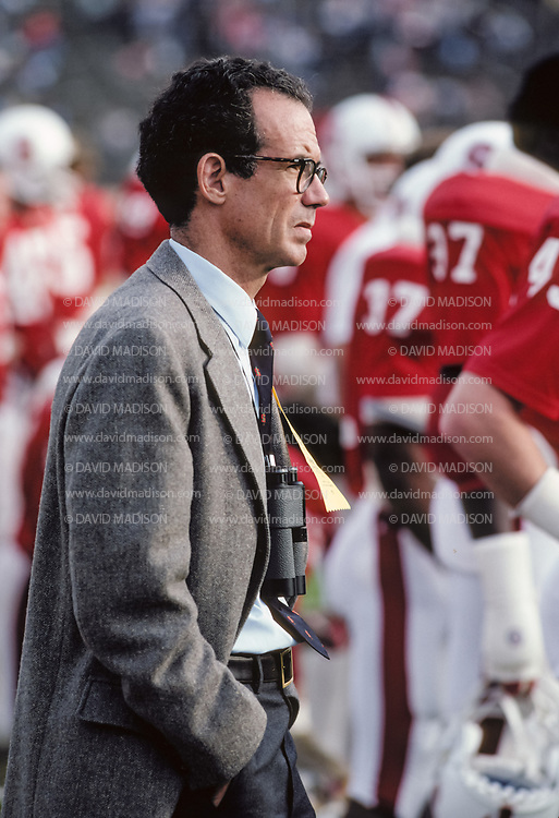 Stanford University President Donald Kennedy watches a Stanford football game from the sidelines during October 1981 at Stanford Stadium in Palo Alto, California.  Photograph by David Madison ( www.davidmadison.com ).