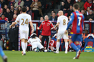 Alan Curtis, the interim manager of Swansea City (c) shouts from the touchline. Barclays Premier League match, Crystal Palace v Swansea city at Selhurst Park in London on Monday 28th December 2015.<br /> pic by John Patrick Fletcher, Andrew Orchard sports photography.