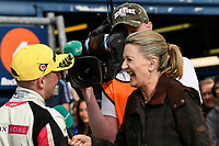 #22 Chris Smiley BTC Norlin Racing Honda Civic Type R (FK2) talking to Louise Goodman from ITV4 in post race interview after BTCC Race 3  as part of the Dunlop MSA British Touring Car Championship - Rockingham 2018 at Rockingham, Corby, Northamptonshire, United Kingdom. August 12 2018. World Copyright Peter Taylor/PSP. Copy of publication required for printed pictures.
