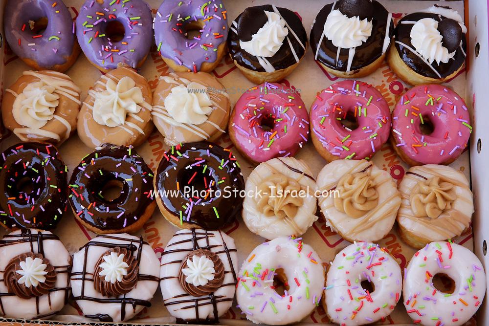 Sugar coated colorful doughnuts