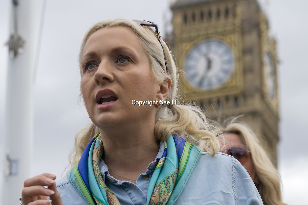 London,England,UK : 24th May 2016 : Speaker Leigh-Catherine Salway,K-9 Angels at the Parliament Puppy Farming Protest - End The Third Party Sale Of Puppies! in Parliament Square, London. Photo by See Li