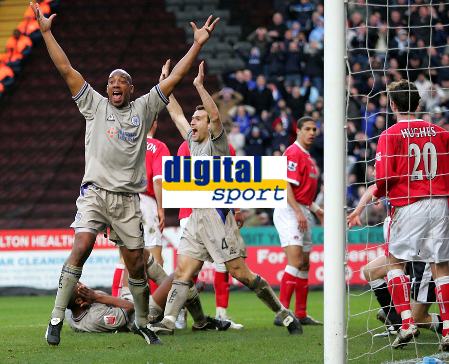 Photo:  Frances Leader.<br /> Charlton v Leicester. FA cup fifth round. <br /> The Valley<br /> 19/02/2005<br /> Leicester's Dion Dublin appeals for a goal that was not allowed against charlton.