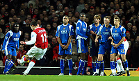 Photo: Ed Godden.<br /> Arsenal v Portsmouth. The Barclays Premiership. 16/12/2006. Arsenal's Robin Van Persie takes a free kick from just outside the area in the final minutes of the game.