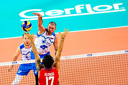 Tine Urnaut of Slovenia and Alen Pajenk of Slovenia during volleyball match between Cuba and Slovenia in Final of FIVB Volleyball Challenger Cup Men, on July 7, 2019 in Arena Stozice, Ljubljana, Slovenia. Photo by Matic Klansek Velej / Sportida