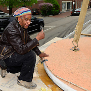 Taken on May 11, 2015, during final stages of construction of the African Burying Ground Memorial in Portsmouth NH, during delivery of the art/sculpture pieces to the site from artist Jerome Meadows studio in Savanah, GA.