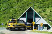 Alaska  Railroad Train leaves the Anton Anderson Tunnel in Portage.