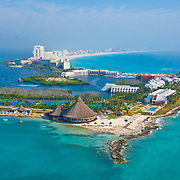 Aerial View of the Club Med Hotel.<br /> Cancun, Quintana Roo. Mexico