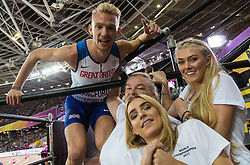 London, August 08 2017 . Kyle Langford, Great Britain, is greeted by his family and girlfriend after running to 4th place in the men's 800m final on day five of the IAAF London 2017 world Championships at the London Stadium. © Paul Davey.