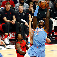 18 March 2018: LA Clippers forward Montrezl Harrell (5) grabs a rebound during the Portland Trail Blazers 122109 victory over the LA Clippers, at the Staples Center, Los Angeles, California, USA.