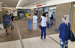 JOHANNESBURG, May 3, 2020  Customers keep safe social distance outside a store in Johannesburg, South Africa, May 2, 2020..  South Africa on Saturday reported 385 new COVID-19 cases in the past 24 hours, the highest daily surge since the country recorded its first case in early March..  The newly-added cases brought the total number of the infection to 6,336, Health Minister Zweli Mkhize said in a statement..  The country has reported 123 virus-related deaths by Saturday, said the minister. (Credit Image: © Chen Cheng/Xinhua via ZUMA Wire)